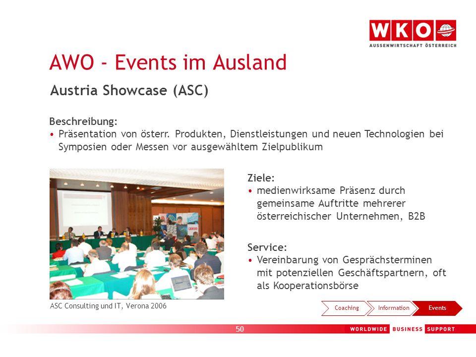 50 Beschreibung: Präsentation von österr. Produkten, Dienstleistungen und neuen Technologien bei Symposien oder Messen vor ausgewähltem Zielpublikum A