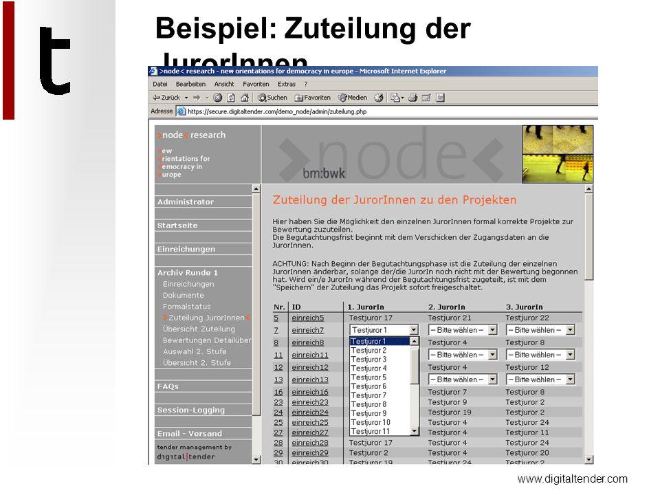 www.digitaltender.com Beispiel: Zuteilung der JurorInnen