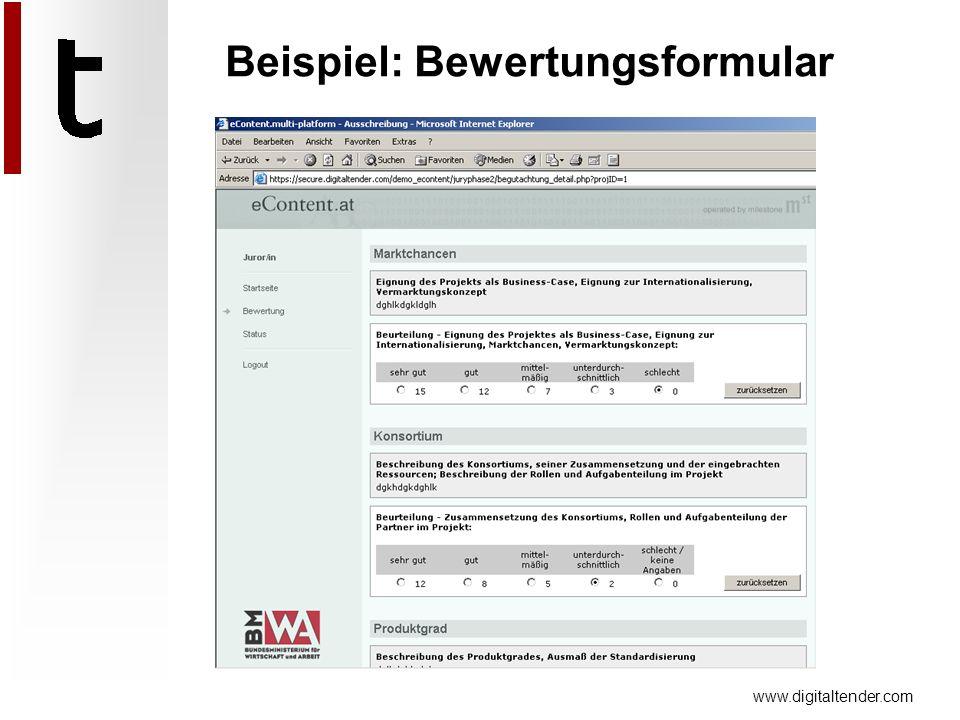 www.digitaltender.com Beispiel: Bewertungsformular