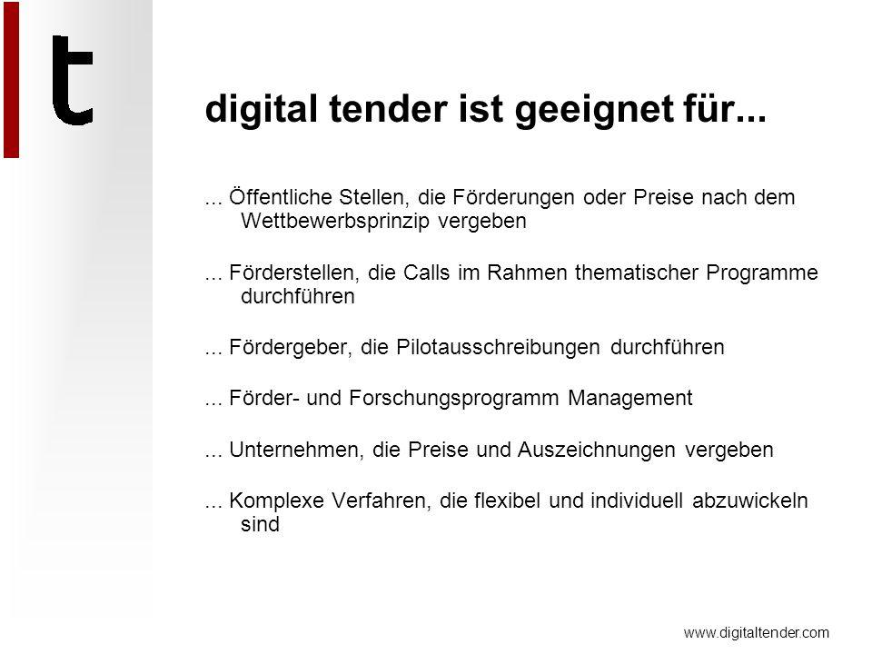 www.digitaltender.com digital tender ist geeignet für...... Öffentliche Stellen, die Förderungen oder Preise nach dem Wettbewerbsprinzip vergeben... F
