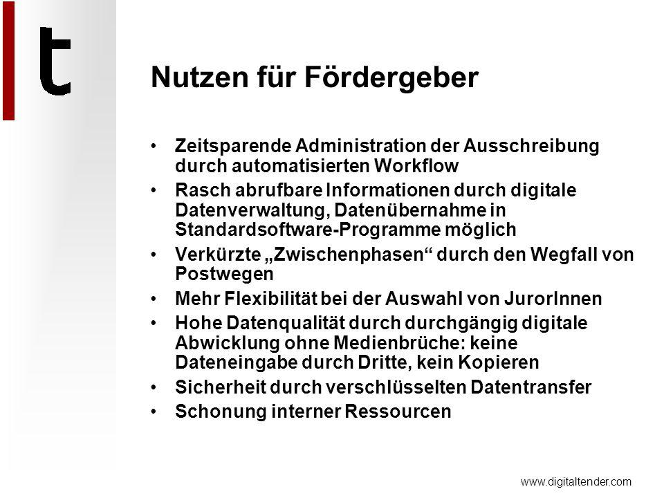 www.digitaltender.com Zeitsparende Administration der Ausschreibung durch automatisierten Workflow Rasch abrufbare Informationen durch digitale Datenv
