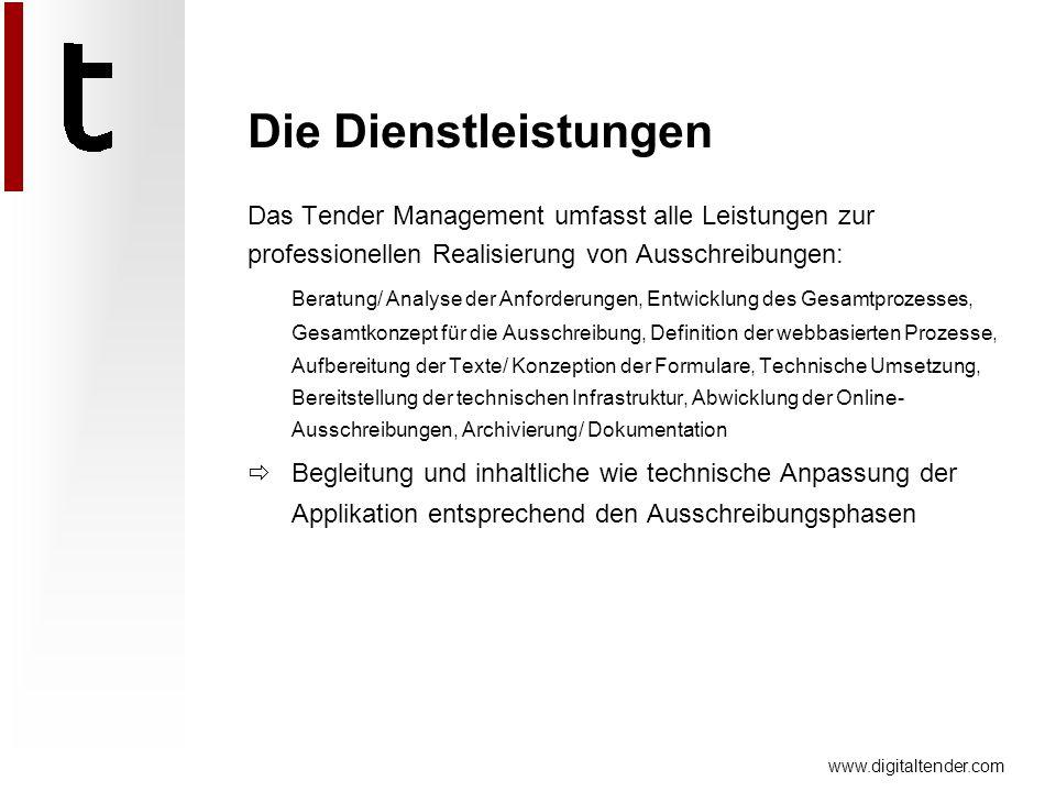 www.digitaltender.com Die Dienstleistungen Das Tender Management umfasst alle Leistungen zur professionellen Realisierung von Ausschreibungen: Beratun