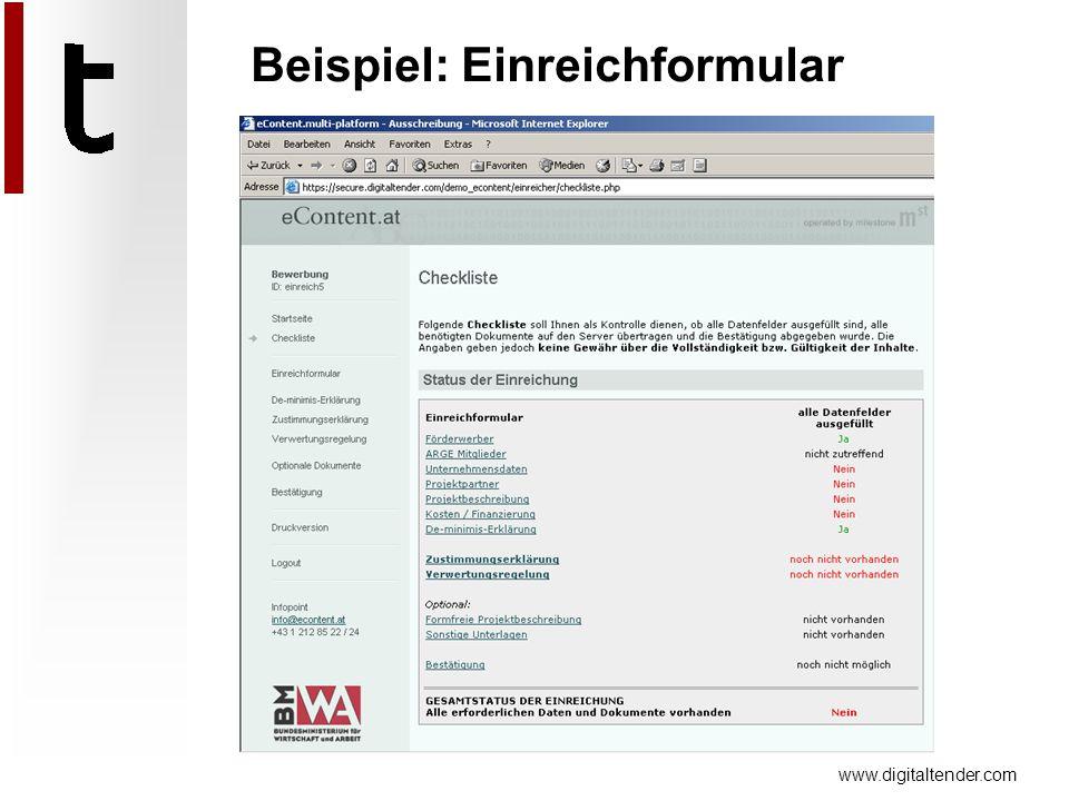 www.digitaltender.com Beispiel: Einreichformular