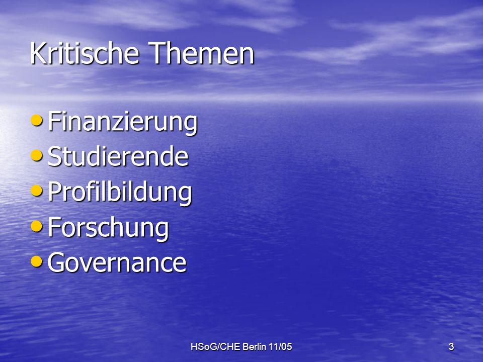 HSoG/CHE Berlin 11/053 Kritische Themen Finanzierung Finanzierung Studierende Studierende Profilbildung Profilbildung Forschung Forschung Governance Governance