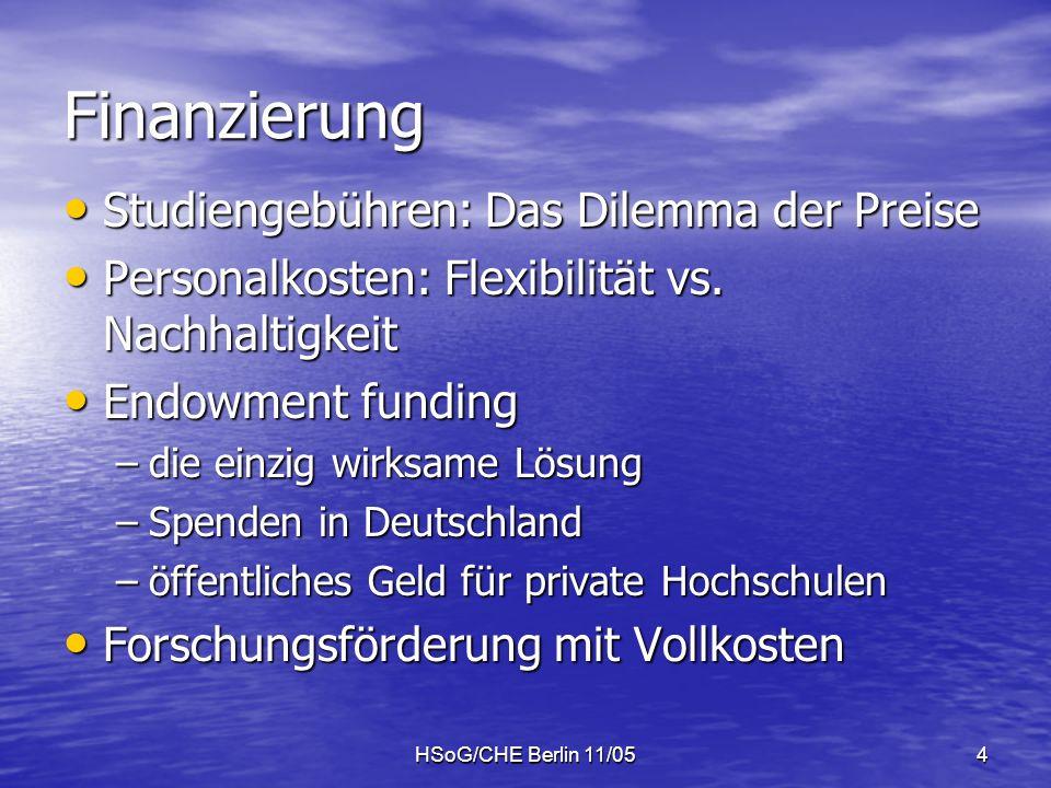 HSoG/CHE Berlin 11/054 Finanzierung Studiengebühren: Das Dilemma der Preise Studiengebühren: Das Dilemma der Preise Personalkosten: Flexibilität vs.