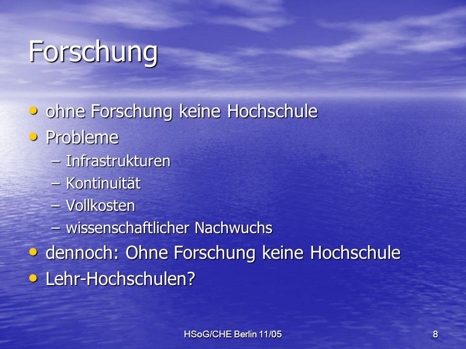 HSoG/CHE Berlin 11/058 Forschung ohne Forschung keine Hochschule ohne Forschung keine Hochschule Probleme Probleme –Infrastrukturen –Kontinuität –Vollkosten –wissenschaftlicher Nachwuchs dennoch: Ohne Forschung keine Hochschule dennoch: Ohne Forschung keine Hochschule Lehr-Hochschulen.