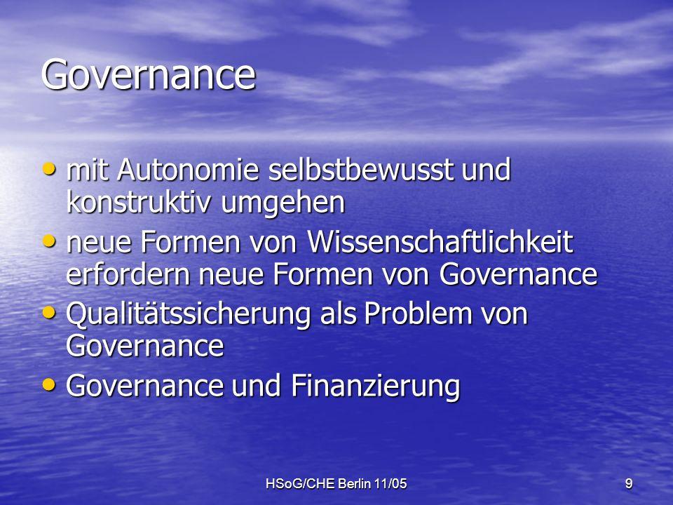 HSoG/CHE Berlin 11/059 Governance mit Autonomie selbstbewusst und konstruktiv umgehen mit Autonomie selbstbewusst und konstruktiv umgehen neue Formen von Wissenschaftlichkeit erfordern neue Formen von Governance neue Formen von Wissenschaftlichkeit erfordern neue Formen von Governance Qualitätssicherung als Problem von Governance Qualitätssicherung als Problem von Governance Governance und Finanzierung Governance und Finanzierung