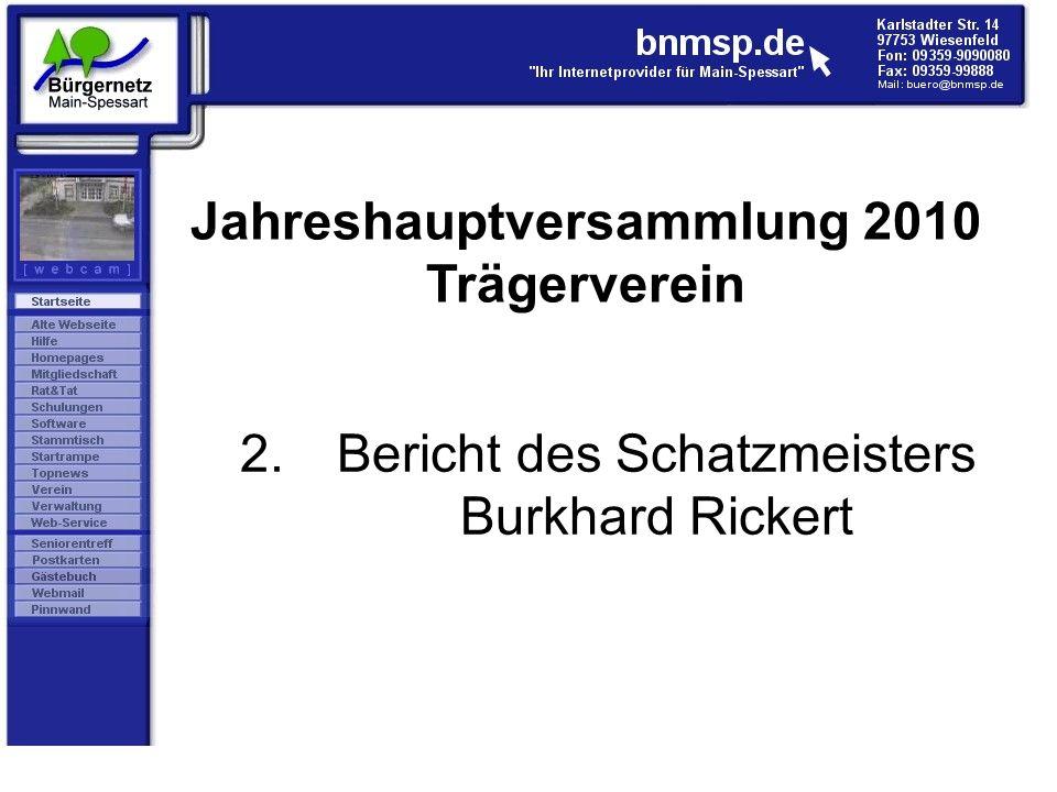 2.Bericht des Schatzmeisters Burkhard Rickert Jahreshauptversammlung 2010 Trägerverein