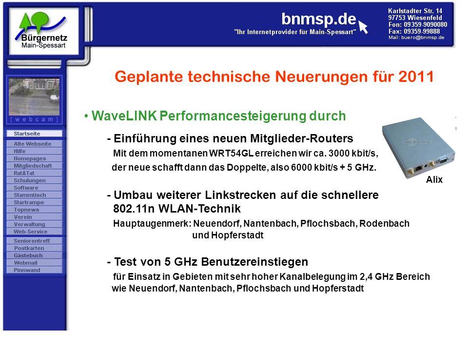 Geplante technische Neuerungen für 2011 WaveLINK Performancesteigerung durch - Einführung eines neuen Mitglieder-Routers Mit dem momentanen WRT54GL er