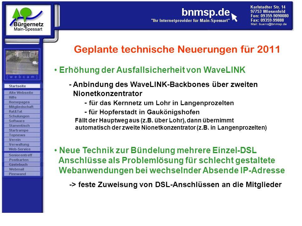Geplante technische Neuerungen für 2011 Erhöhung der Ausfallsicherheit von WaveLINK - Anbindung des WaveLINK-Backbones über zweiten Nionetkonzentrator