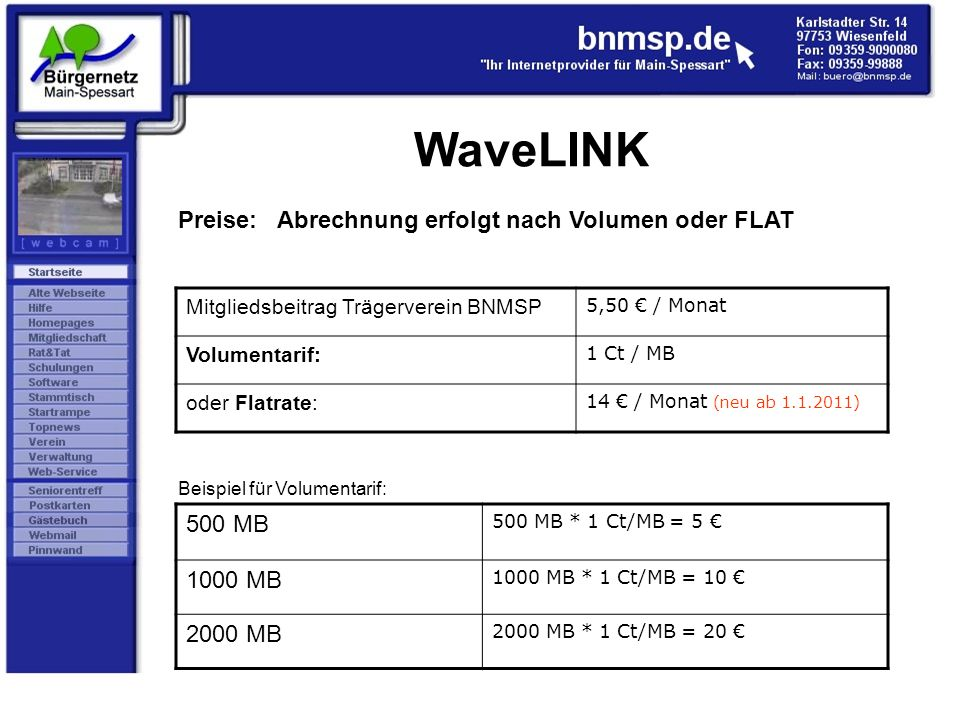 WaveLINK Preise: Abrechnung erfolgt nach Volumen oder FLAT Mitgliedsbeitrag Trägerverein BNMSP 5,50 / Monat Volumentarif: 1 Ct / MB oder Flatrate: 14