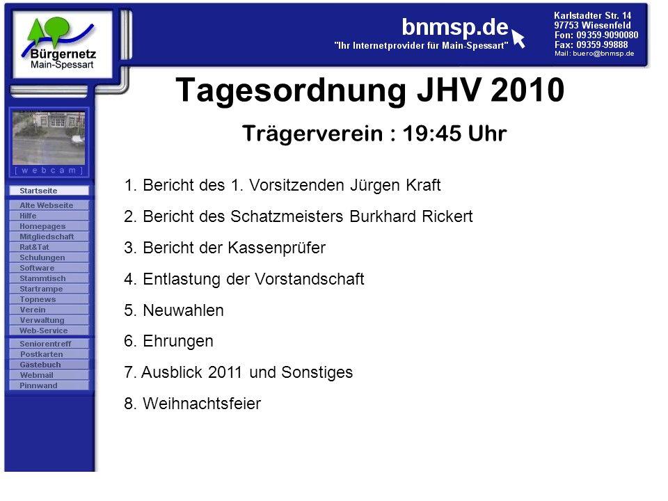 Tagesordnung JHV 2010 Trägerverein : 19:45 Uhr 1. Bericht des 1. Vorsitzenden Jürgen Kraft 2. Bericht des Schatzmeisters Burkhard Rickert 3. Bericht d