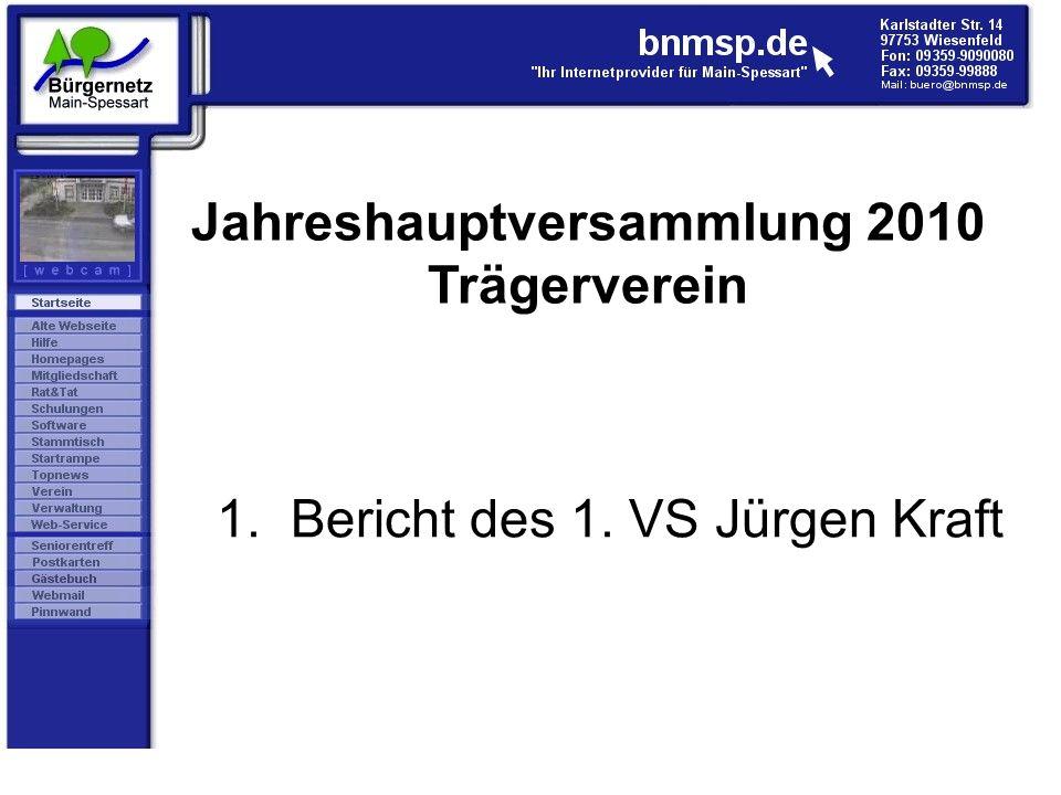 1. Bericht des 1. VS Jürgen Kraft Jahreshauptversammlung 2010 Trägerverein