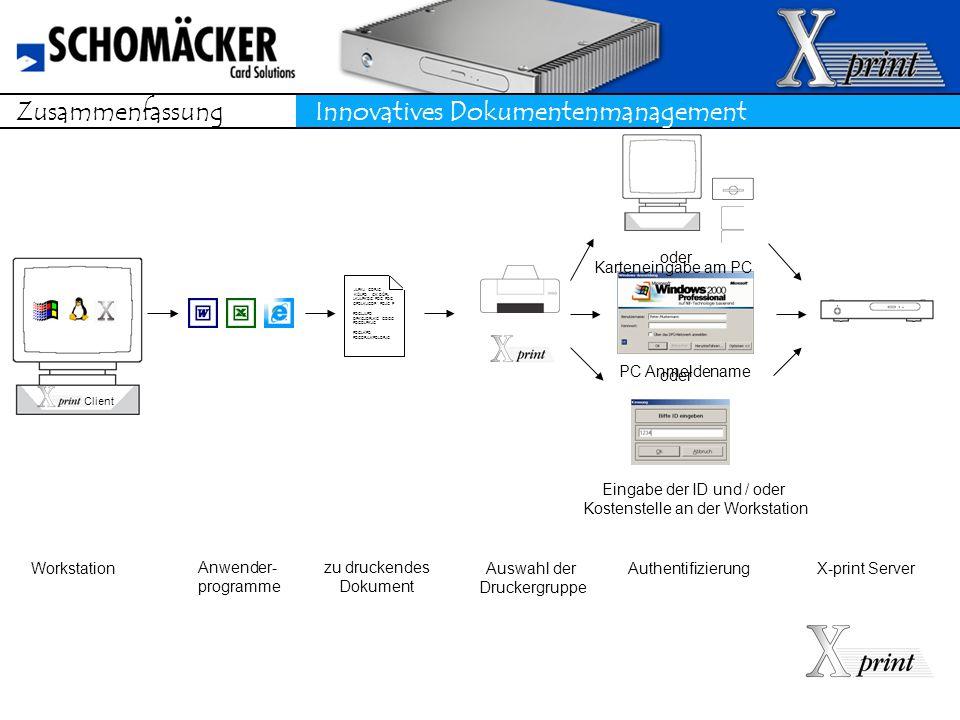 Zusammenfassung Innovatives Dokumentenmanagement Workstation JLFKJ GDFJG KÖLFD GK DÖFL LKJLFKDG FDG FDG GFDLKJGDF FDJG F FDGLJLFD DFKGJDFLKG GDGG FDGDLFKJG FDGLKFD FDGDFJLKFDLDFJG Auswahl der Druckergruppe X-print Server zu druckendes Dokument Anwender- programme Authentifizierung Karteneingabe am PC oder PC Anmeldename oder Eingabe der ID und / oder Kostenstelle an der Workstation Client