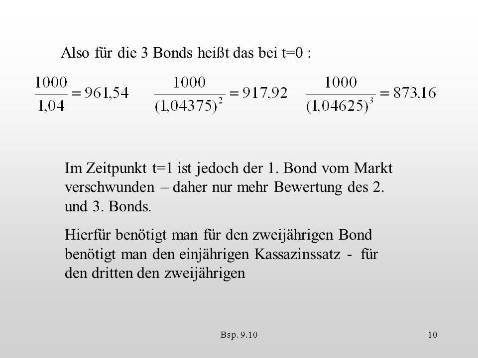 Bsp.9.1010 Also für die 3 Bonds heißt das bei t=0 : Im Zeitpunkt t=1 ist jedoch der 1.