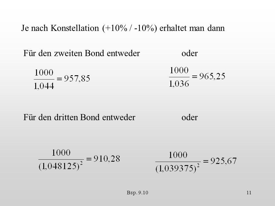 Bsp. 9.1011 Je nach Konstellation (+10% / -10%) erhaltet man dann Für den zweiten Bond entwederoder Für den dritten Bond entwederoder