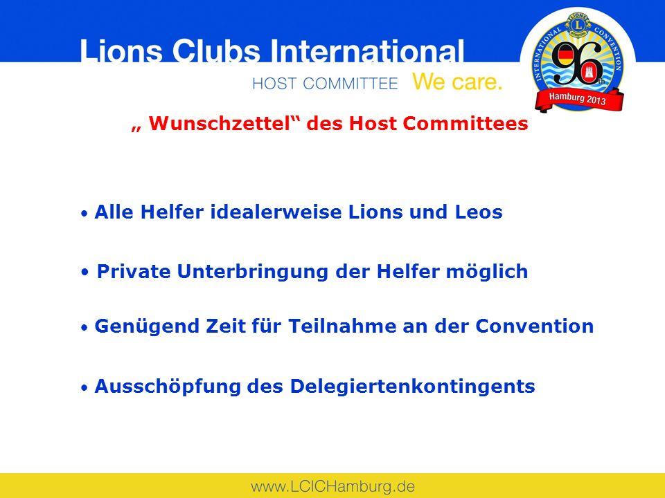 Wunschzettel des Host Committees Alle Helfer idealerweise Lions und Leos Private Unterbringung der Helfer möglich Genügend Zeit für Teilnahme an der Convention Ausschöpfung des Delegiertenkontingents