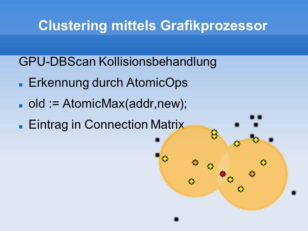 Clustering mittels Grafikprozessor GPU-DBScan Kollisionsbehandlung Erkennung durch AtomicOps old := AtomicMax(addr,new); Eintrag in Connection Matrix