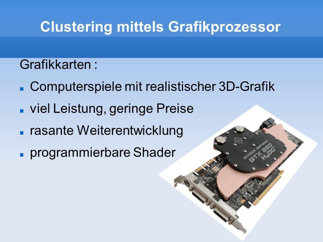 Clustering mittels Grafikprozessor Grafikkarten : Computerspiele mit realistischer 3D-Grafik viel Leistung, geringe Preise rasante Weiterentwicklung p