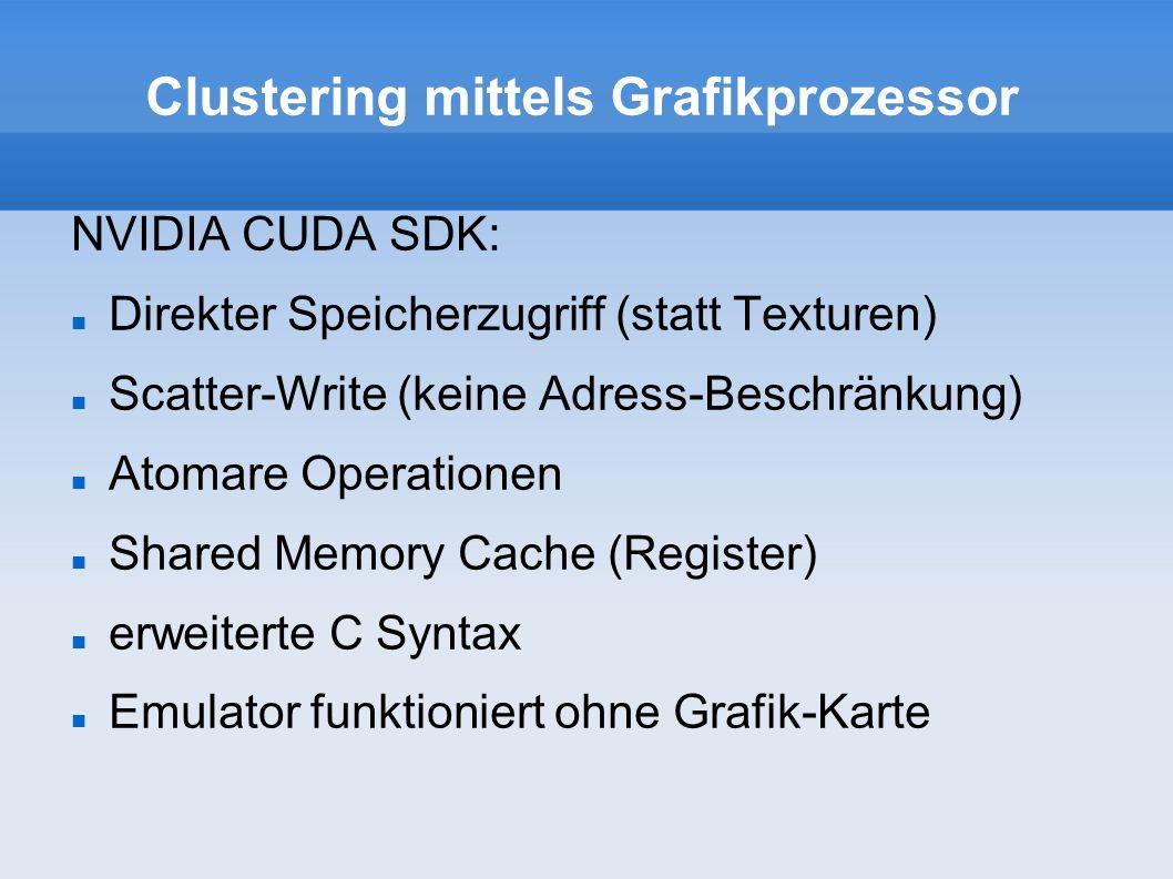 Clustering mittels Grafikprozessor K-Means Clustering 1 Thread pro Datenpunkt GPU berechnet Zuordnung und Abstand