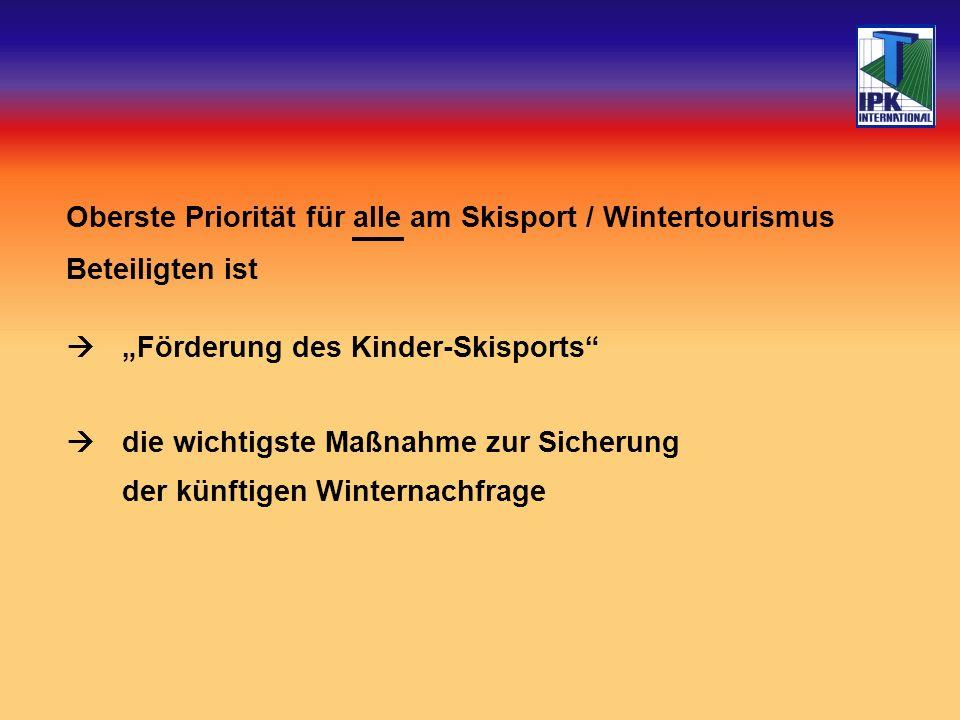 Oberste Priorität für alle am Skisport / Wintertourismus Beteiligten ist Förderung des Kinder-Skisports die wichtigste Maßnahme zur Sicherung der künftigen Winternachfrage