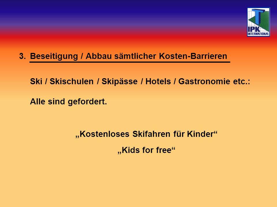 3.Beseitigung / Abbau sämtlicher Kosten-Barrieren Ski / Skischulen / Skipässe / Hotels / Gastronomie etc.: Alle sind gefordert.