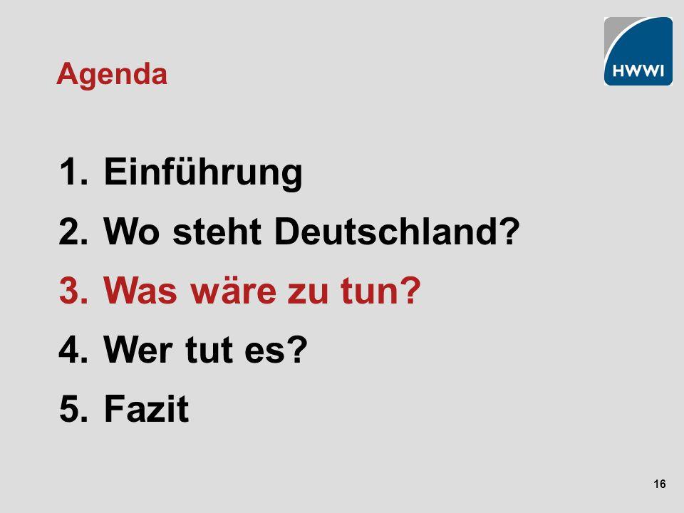 16 Agenda 1. Einführung 2. Wo steht Deutschland? 3. Was wäre zu tun? 4. Wer tut es? 5. Fazit