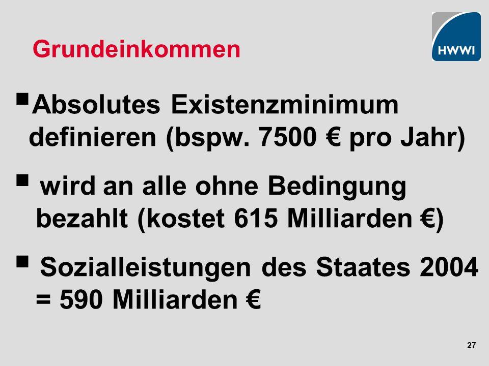 27 Grundeinkommen Absolutes Existenzminimum definieren (bspw.