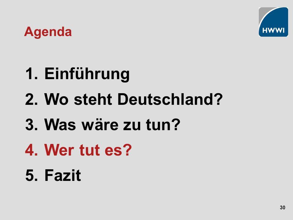 30 Agenda 1. Einführung 2. Wo steht Deutschland? 3. Was wäre zu tun? 4. Wer tut es? 5. Fazit