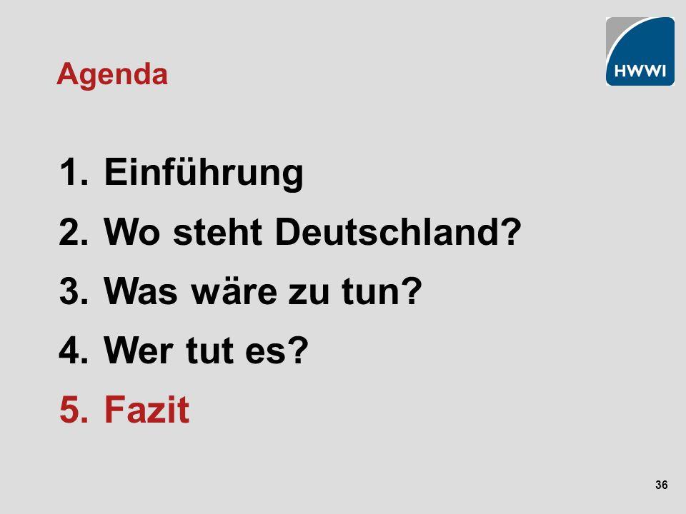 36 Agenda 1. Einführung 2. Wo steht Deutschland? 3. Was wäre zu tun? 4. Wer tut es? 5. Fazit