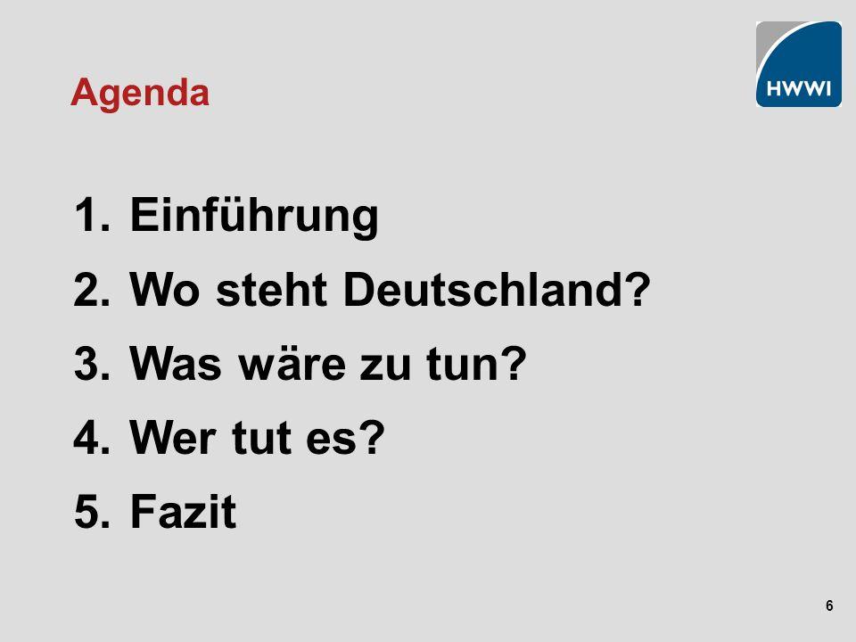 6 Agenda 1. Einführung 2. Wo steht Deutschland? 3. Was wäre zu tun? 4. Wer tut es? 5. Fazit