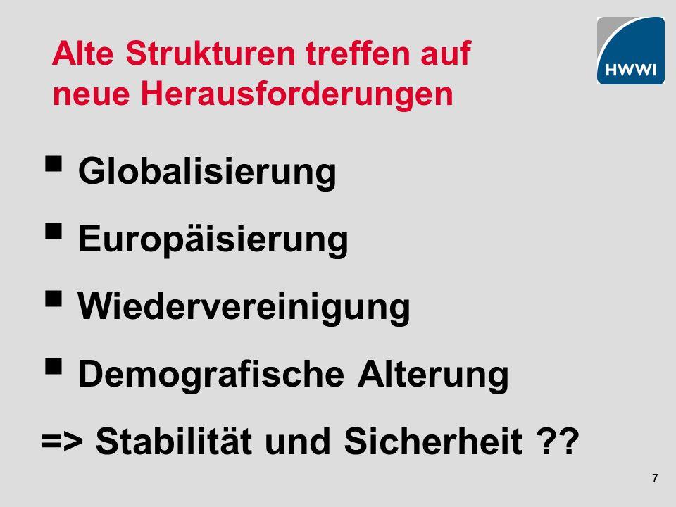 7 Alte Strukturen treffen auf neue Herausforderungen Globalisierung Europäisierung Wiedervereinigung Demografische Alterung => Stabilität und Sicherheit ??