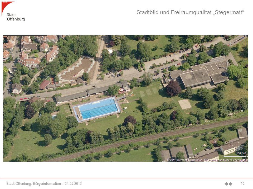 Stadt Offenburg, Bürgerinformation – 24.05.2012 10 Stadtbild und Freiraumqualität Stegermatt