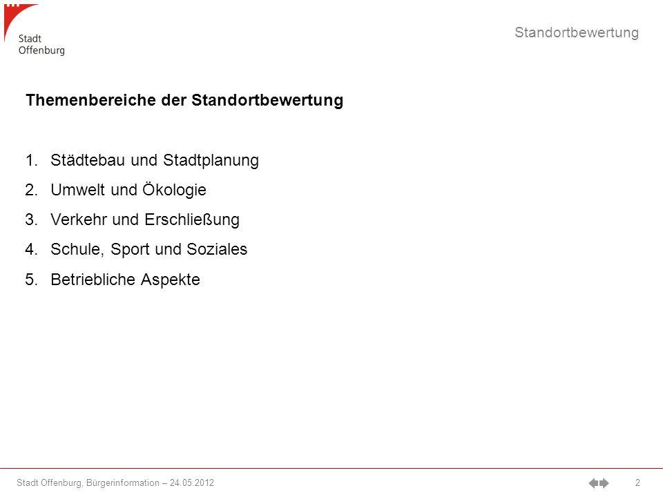Stadt Offenburg, Bürgerinformation – 24.05.2012 3 Städtebau und Stadtplanung - Übersicht