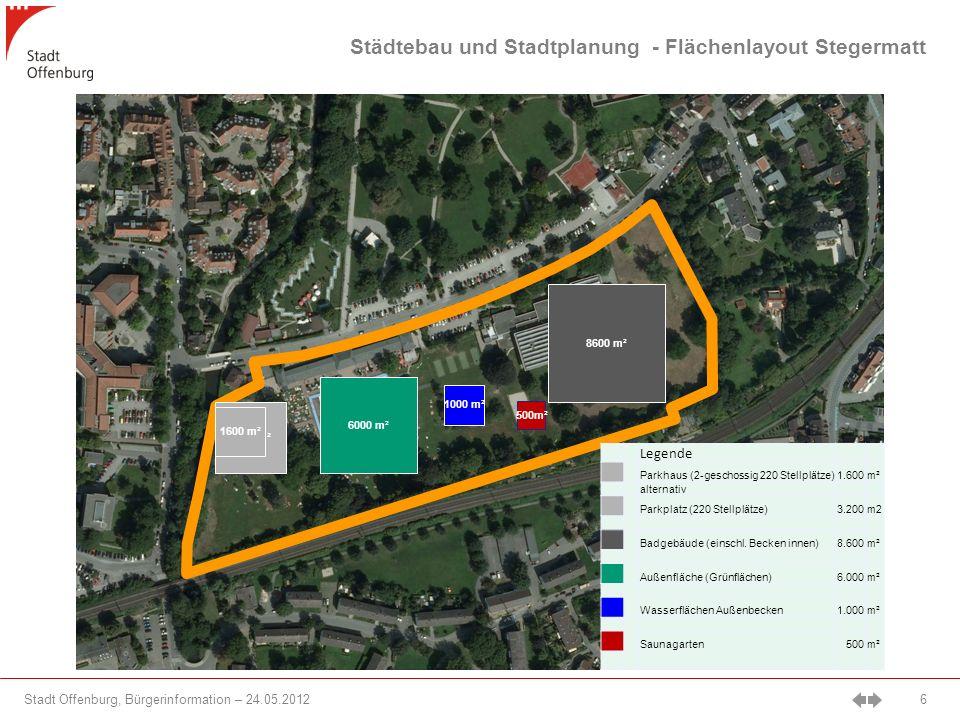 Stadt Offenburg, Bürgerinformation – 24.05.2012 6 3200 m² 8600 m² 6000 m² 1000 m² 500m² Legende Parkhaus (2-geschossig 220 Stellplätze)1.600m² alternativ Parkplatz (220 Stellplätze)3.200m2 Badgebäude (einschl.