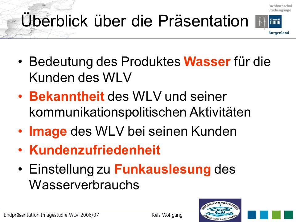 Endpräsentation Imagestudie WLV 2006/07Reis Wolfgang 21. 3. 2007 Überblick über die Präsentation Bedeutung des Produktes Wasser für die Kunden des WLV