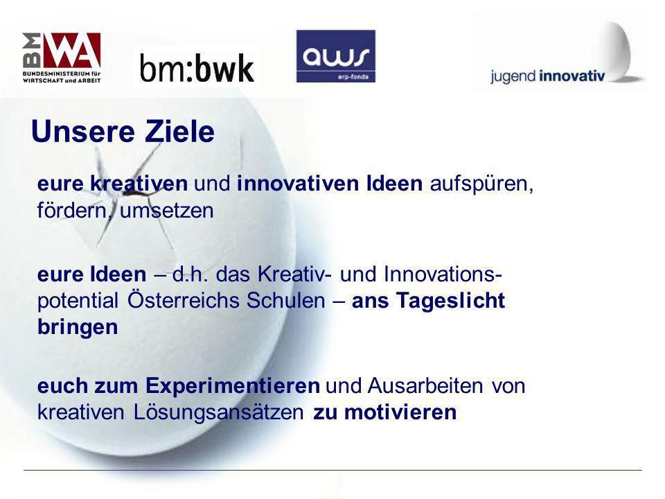 eure kreativen und innovativen Ideen aufspüren, fördern, umsetzen eure Ideen – d.h. das Kreativ- und Innovations- potential Österreichs Schulen – ans