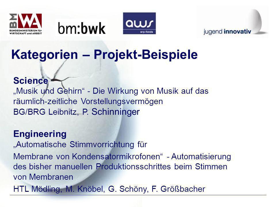 Kategorien – Projekt-Beispiele Science Musik und Gehirn - Die Wirkung von Musik auf das räumlich-zeitliche Vorstellungsvermögen BG/BRG Leibnitz, P. Sc