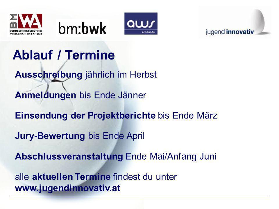 Ausschreibung jährlich im Herbst Anmeldungen bis Ende Jänner Einsendung der Projektberichte bis Ende März Jury-Bewertung bis Ende April Abschlussveran