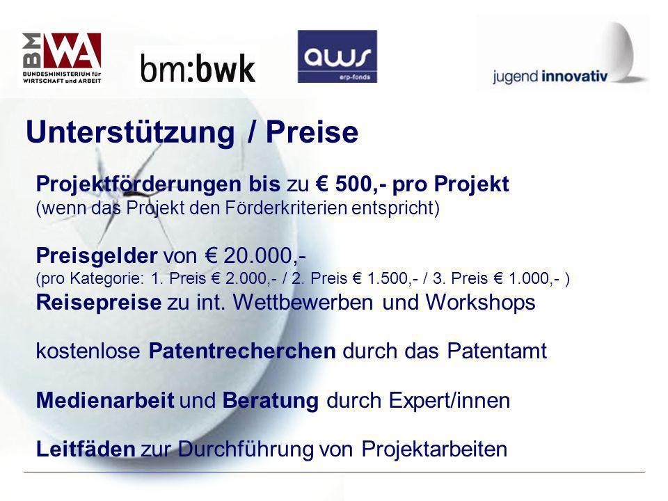 Projektförderungen bis zu 500,- pro Projekt (wenn das Projekt den Förderkriterien entspricht) Preisgelder von 20.000,- (pro Kategorie: 1. Preis 2.000,