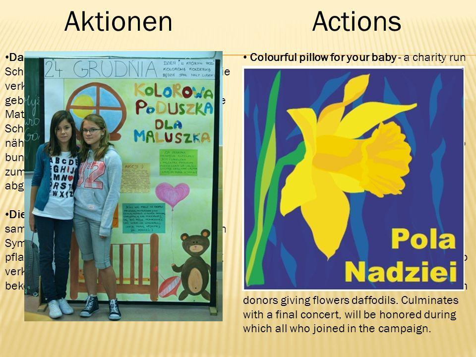 AktionenActions Das bunte Kissen für die Kleinen-Die Schüler sammeln in der Schule das Geld.