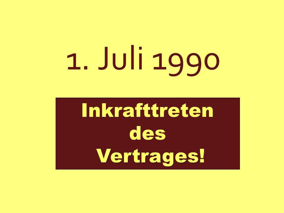 Inhalt: * DDR überträgt Souveränität in Finanzangelegenheiten auf Bundesbank in Frankfurt am Main * D-Mark als einziges Zahlungsmittel * Ende der Planwirtschaft, Einführung der Marktwirtschaft V e r t r a g