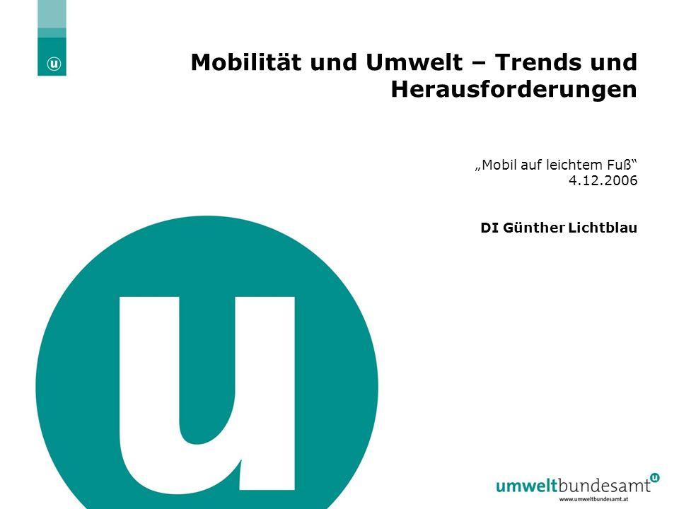 4.12.2006 | Folie 1 Mobilität und Umwelt – Trends und Herausforderungen Mobil auf leichtem Fuß 4.12.2006 DI Günther Lichtblau