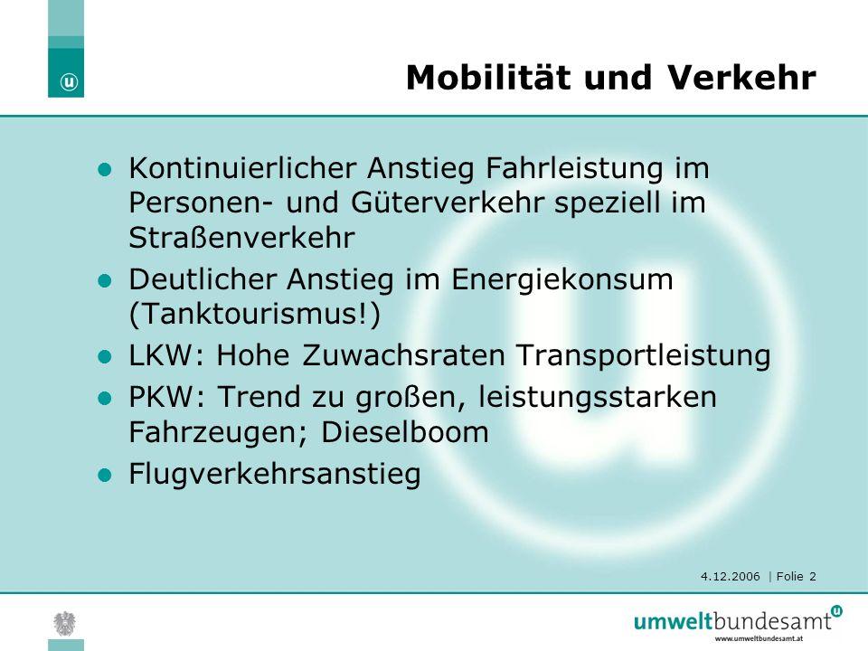 4.12.2006 | Folie 2 Mobilität und Verkehr Kontinuierlicher Anstieg Fahrleistung im Personen- und Güterverkehr speziell im Straßenverkehr Deutlicher An