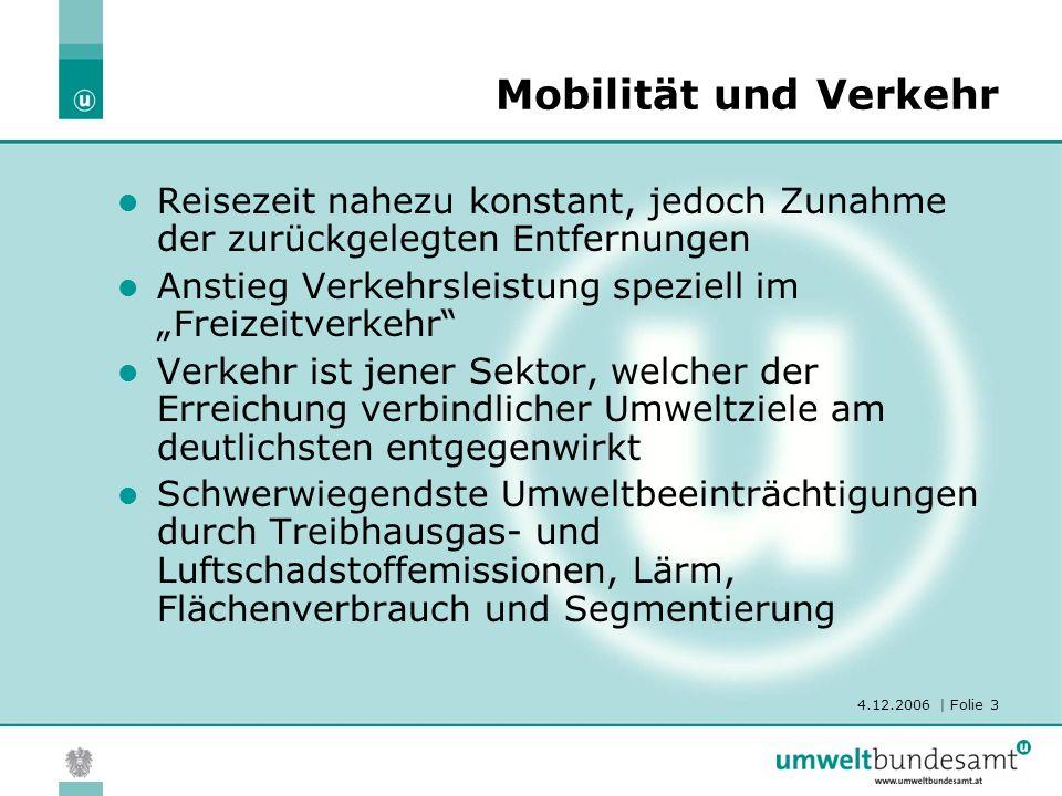 4.12.2006 | Folie 3 Mobilität und Verkehr Reisezeit nahezu konstant, jedoch Zunahme der zurückgelegten Entfernungen Anstieg Verkehrsleistung speziell