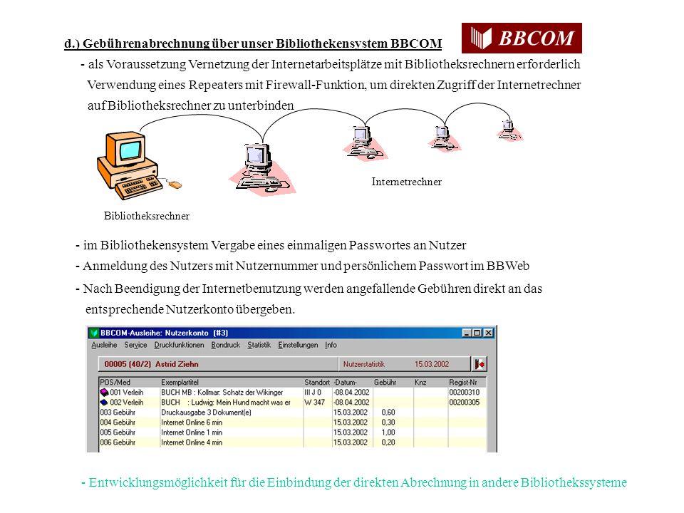 d.) Gebührenabrechnung über unser Bibliothekensystem BBCOM - als Voraussetzung Vernetzung der Internetarbeitsplätze mit Bibliotheksrechnern erforderlich Verwendung eines Repeaters mit Firewall-Funktion, um direkten Zugriff der Internetrechner auf Bibliotheksrechner zu unterbinden - im Bibliothekensystem Vergabe eines einmaligen Passwortes an Nutzer - Anmeldung des Nutzers mit Nutzernummer und persönlichem Passwort im BBWeb - Nach Beendigung der Internetbenutzung werden angefallende Gebühren direkt an das entsprechende Nutzerkonto übergeben.