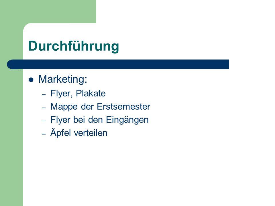 Durchführung Marketing: – Flyer, Plakate – Mappe der Erstsemester – Flyer bei den Eingängen – Äpfel verteilen