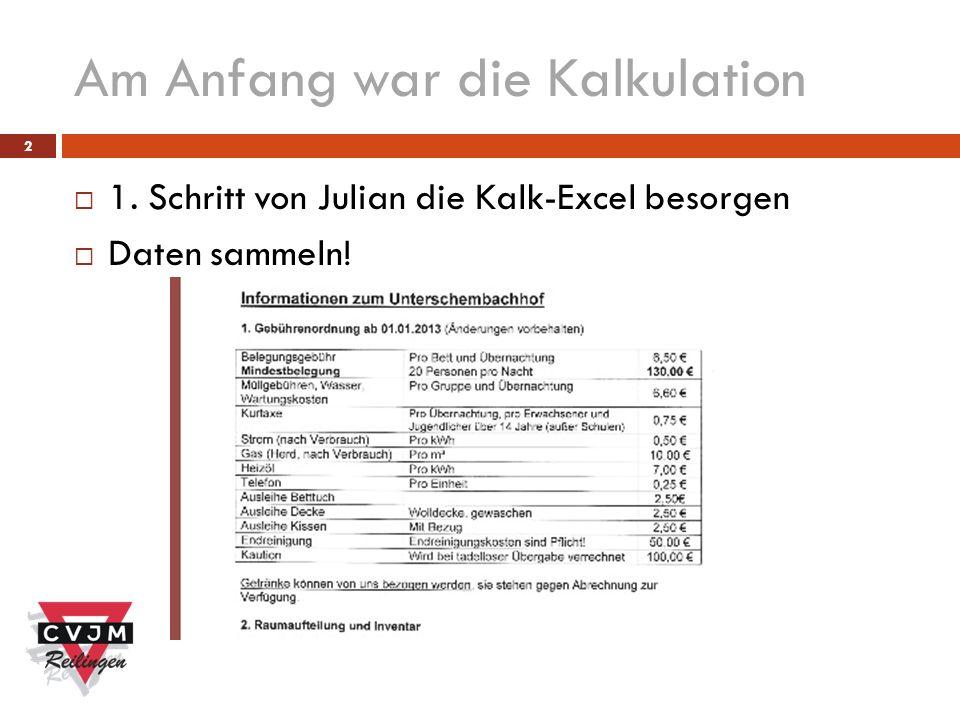 2 Am Anfang war die Kalkulation 1. Schritt von Julian die Kalk-Excel besorgen Daten sammeln!