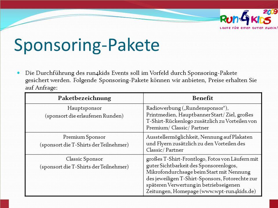 Sponsoring-Pakete Die Durchführung des run4kids Events soll im Vorfeld durch Sponsoring-Pakete gesichert werden. Folgende Sponsoring-Pakete können wir