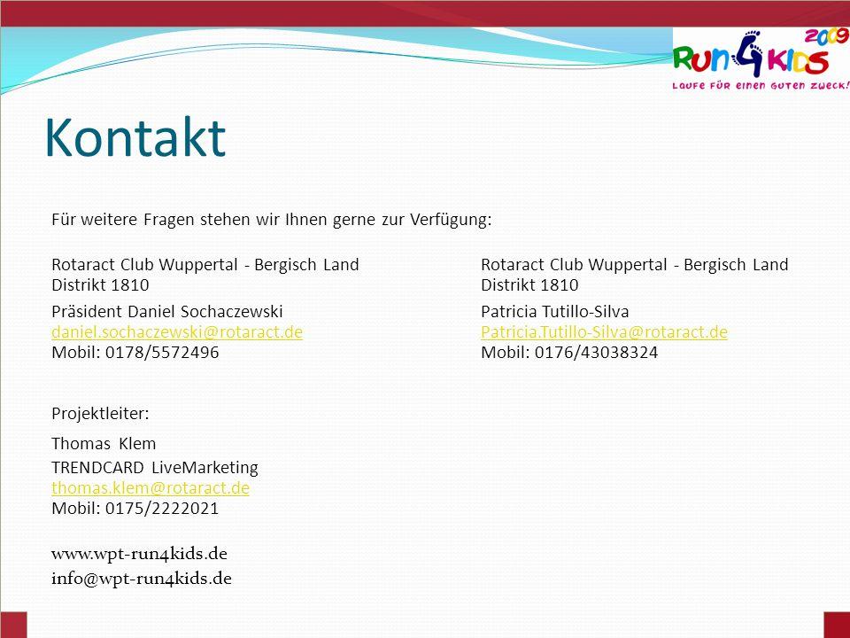 Kontakt Für weitere Fragen stehen wir Ihnen gerne zur Verfügung: Rotaract Club Wuppertal - Bergisch Land Distrikt 1810 Präsident Daniel Sochaczewski P